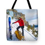 Backcountry Skier Preps For Ice Climbing On Cobb Peak In Idaho Tote Bag