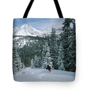 Backcountry Skiing Into An Evergreen Tote Bag