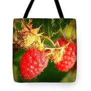 Backyard Garden Series - Two Ripe Raspberries Tote Bag