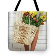 Bag With A Bouquet Of Tulips Tote Bag