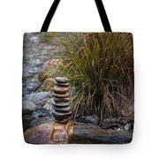 Balancing Zen Stones In Countryside River V Tote Bag