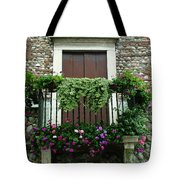 Balcony On Pebbled Wall Tote Bag