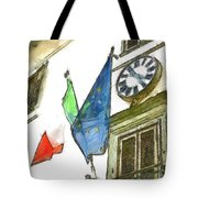 Balcony With Flags And Clock Tote Bag