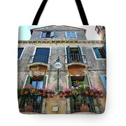 Balcony With Flowers In Venice, Italy Tote Bag