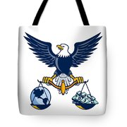 Bald Eagle Hold Scales Earth Money Retro Tote Bag