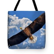 Bald Eagle In Flight Calling Out Tote Bag
