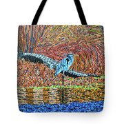Bald Head Island, Gator, Blue Heron Tote Bag