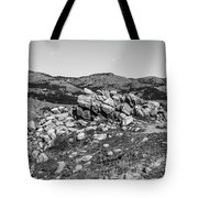 Bald Mountain Rock Formation In Black And White Tote Bag