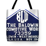 Baldwin Diesel Builders Plate Tote Bag