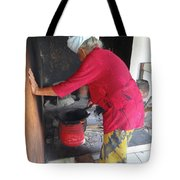 Balinese Lady Roasting Coffee Leans Again Wall Tote Bag