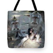 Balinese Monkey Family Tote Bag
