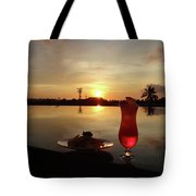 Balinese Orange Sunset With Drink Tote Bag