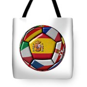 Ball With Flag Of Spain In The Center Tote Bag