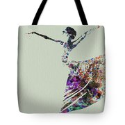 Ballerina Dancing Watercolor Tote Bag
