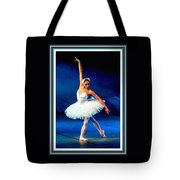 Ballerina On Stage L B With Decorative Ornate Printed Frame. Tote Bag