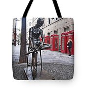 Ballerina Statue And Telephone Boxes Tote Bag
