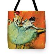 Ballet Dancers At The Barre Tote Bag
