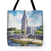Ballina Cathedral On River Moy Tote Bag