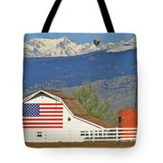 Balloon Barn And Mountains Tote Bag by Scott Mahon