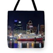 Baltimore Harbor At Night Tote Bag
