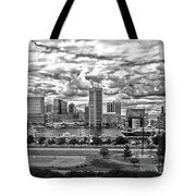 Baltimore Inner Harbor Dramatic Clouds Panorama In Black And White Tote Bag
