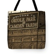 Baltimore Orioles Park At Camden Yards Sepia Tote Bag
