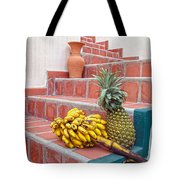 Bananas And Pineapple On Terracotta Steps Tote Bag