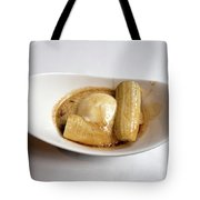 Bananas Foster In A White Dish Tote Bag