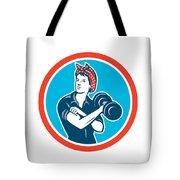 Bandana Woman Lifting Dumbbell Circle Retro Tote Bag