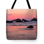 Bandon Beach Sunset Silhouette Tote Bag