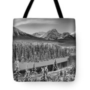 Banff Bow River Black And White Tote Bag