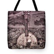 Banjo Mandolin On Garden Wall Tote Bag