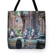 Banteay Srey Temple Pink Monkeys Tote Bag