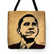 Barack Obama Original Coffee Painting Tote Bag by Georgeta  Blanaru