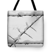 Barbwire Fence In Snow 1 Tote Bag