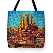 Barcelona Abstract Cityscape - Sagrada Familia Tote Bag