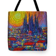 Barcelona Colorful Sunset Over Sagrada Familia Abstract City Knife Oil Painting Ana Maria Edulescu Tote Bag