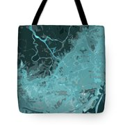 Barcelona Traffic Abstract Blue Map Tote Bag