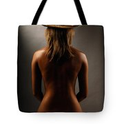Bare Back Of A Woman In A Straw Hat Tote Bag