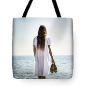 Barefoot At The Sea Tote Bag