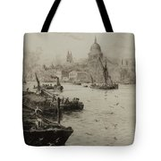 Barges On The South Bank Tote Bag