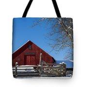 Barn And Blue Sky Tote Bag