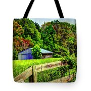 Barn And Fence In Tall Grass Tote Bag