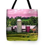 Barn And Silo With Infrared Touch Of Pink Effect Tote Bag