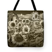 Barn And Sunflowers In Sepia Tone Tote Bag