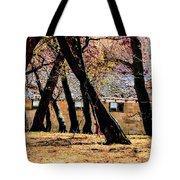 Barn Behind Trees Tote Bag