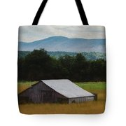 Barn Below Trees And Mountains In Artistic Version Tote Bag