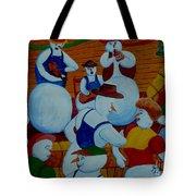Barn Dancing Snowmen Tote Bag