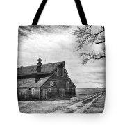 Barn In Black And White Tote Bag