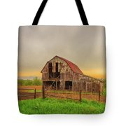 Barn In The Cloudy Sky Tote Bag